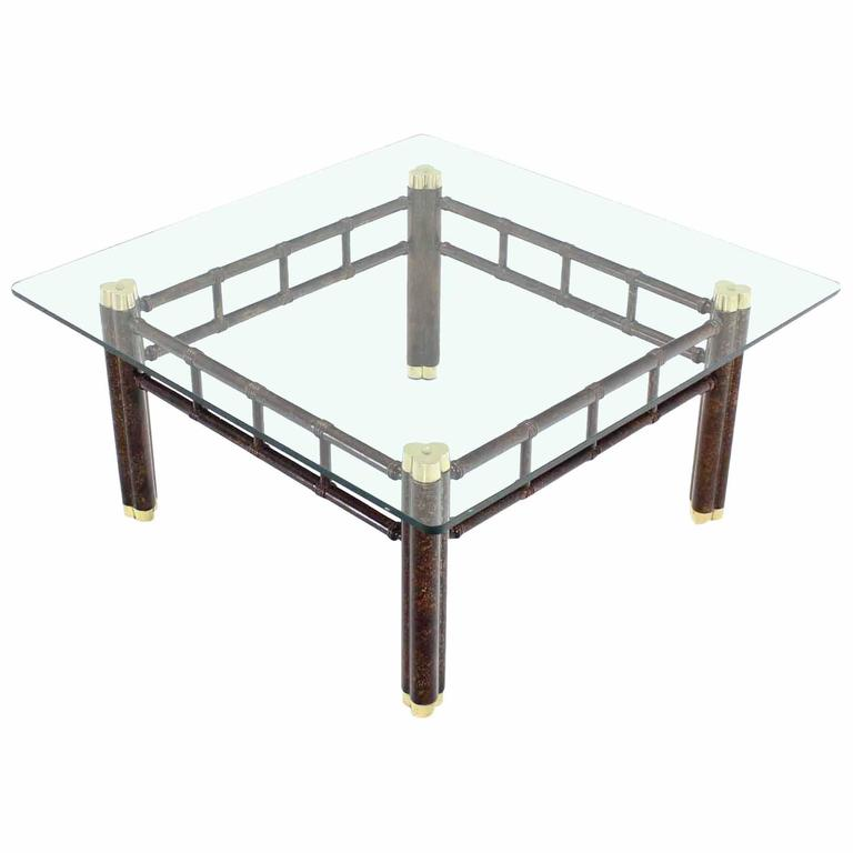 Faux Bamboo Bronzed Metal Base Square Coffee Table