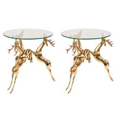 Pair of Glass Top Side Tables Featuring Brass Base Composed of Rearing Deer