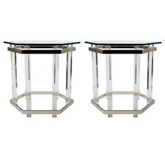 Pair of Chrome and Lucite Glass Top Tables in Hexagonal Form