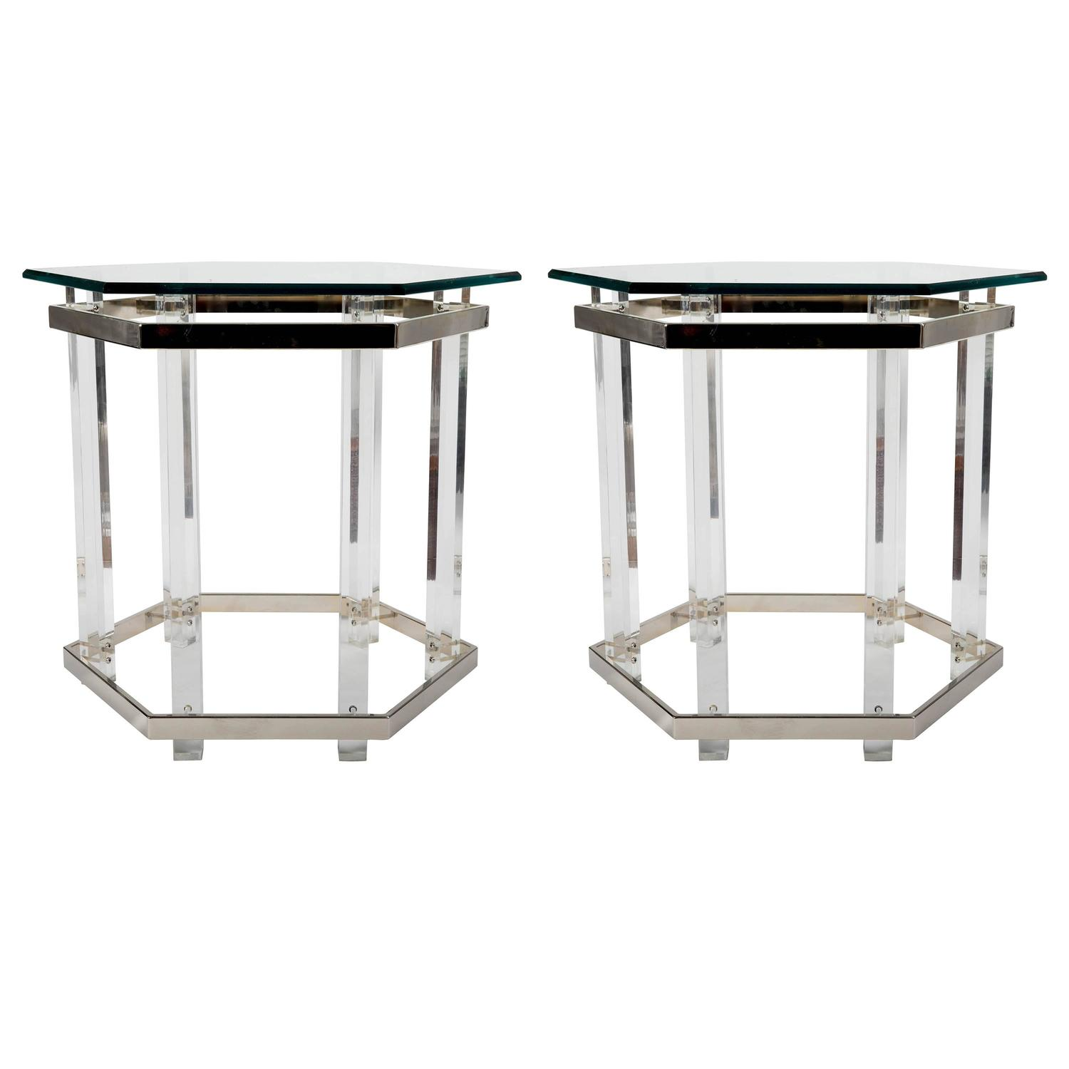 Pair Of Chrome And Lucite Glass Top Tables In Hexagonal Form For Sale At 1stdibs