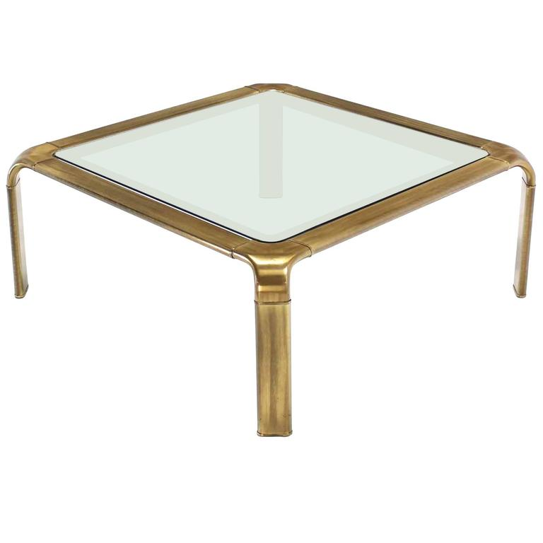 Square Modern Brass Coffee Table by Widdicomb