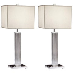 Italian Mid-Century Modern Neoclassical Silver & Crystal Column Table Lamps Pair