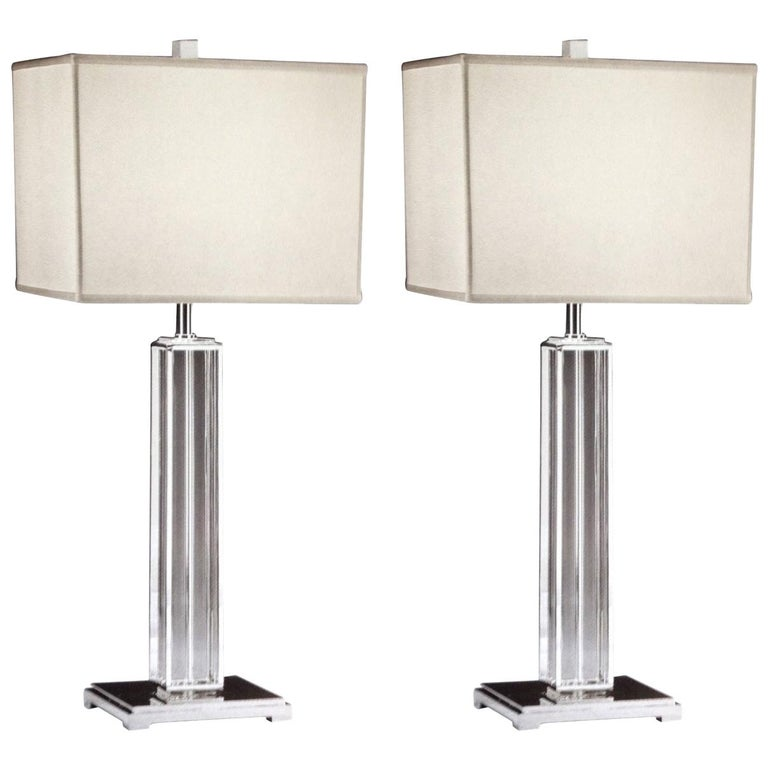 Italian Mid-Century Modern Neoclassical Silver & Crystal Column Table Lamps Pair For Sale