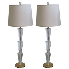 Pair Italian Modern Neoclassical Crystal & Brass Table Lamps, Fontana Arte Style