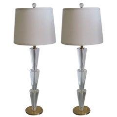 Pair Italian Modern Neoclassical Crystal & Brass Table Lamps, Fontana Arte Style