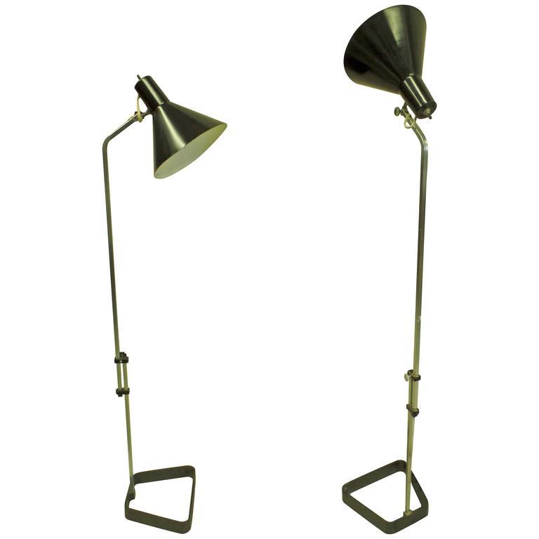 Pair of Scandinavian Mid-Century Modern Height Adjustable Floor Lamps