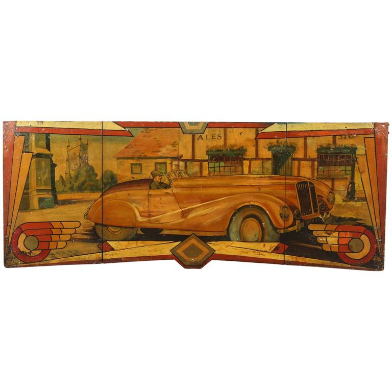 Early Carnival Automobile Ride Original Hand-Painted Rounding Board 1