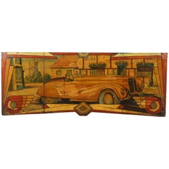 Early Carnival Automobile Ride Original Hand-Painted Rounding Board