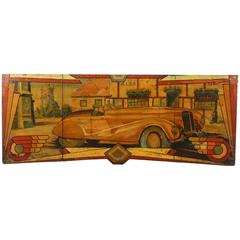 Large Early Carnival Automobile Ride Original Hand-Painted Rounding Board