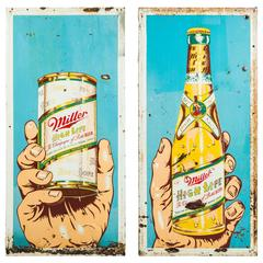 Pair of Large Pop Art Style Miller High Life Metal Trade Signs Girl in the Moon