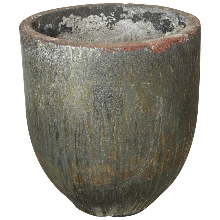 Large-Scale Glazed Lava Stone Foundry Crucible Garden Planter For Sale