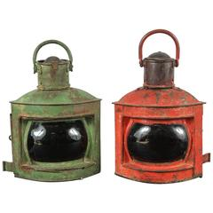 Pair of Antique Port and Starboard Brass Ship Lanterns
