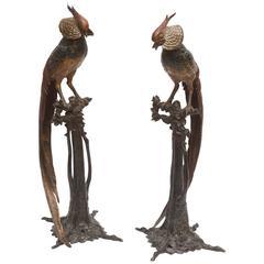 Pair of Art Deco Bronze Figures of Pheasants