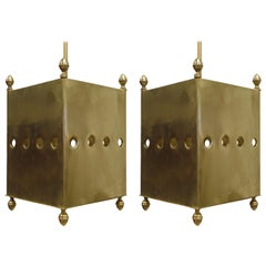 Two French Mid-Century Modern Brass Pendants / Lanterns by Maison Baguès, 1940