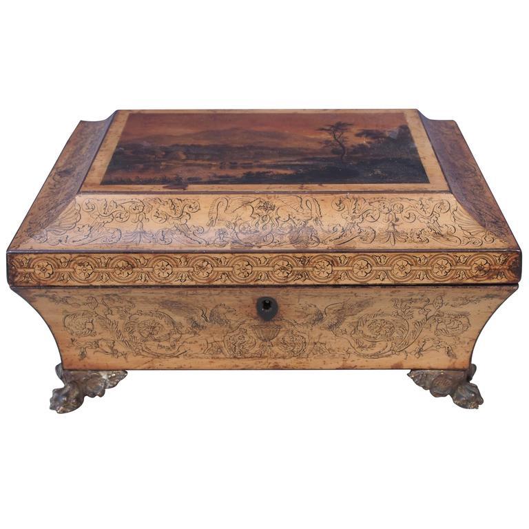 English Regency Penwork Box