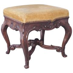 French Louis XV Style Walnut Stool