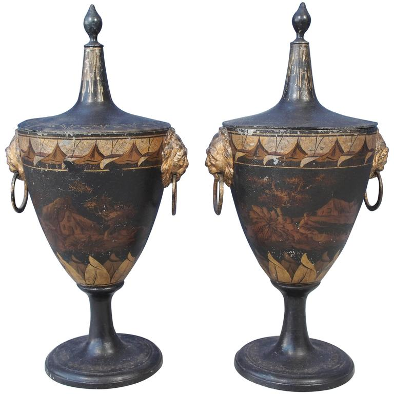 Pair of Tole Painted and Gilt Covered Chestnut Urns