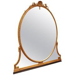 Early Victorian Oval Overmantel Mirror, circa 1850