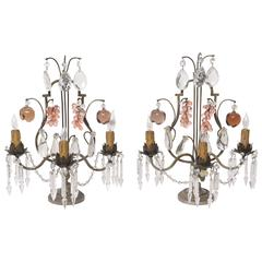 Pair of Bronze and Crystal Louis XV Style Three-Light Girandoles, France, 1920s
