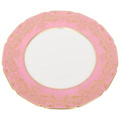 12 Antique Dinner Plates with Raised Gold on Pink, Royal Doulton, England
