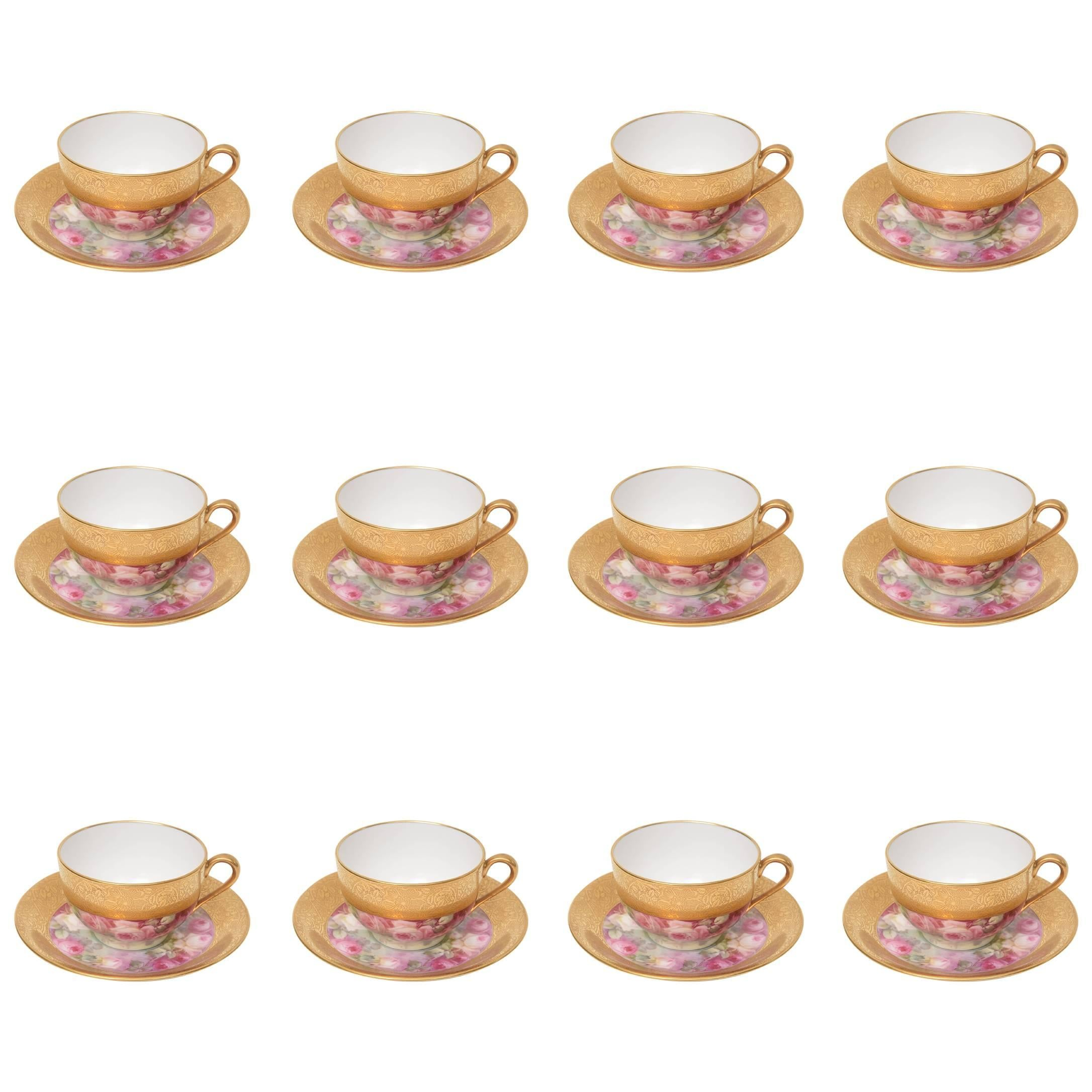 Set of 12 Hand-Painted and Gilt Encrusted Cup and Saucers, 24 Pieces Total