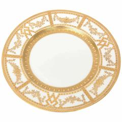 12 Antique English Dinner Plates with Raised Tooled Gold, Hand Decorated