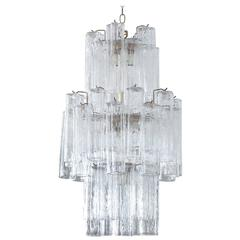 Modern Murano Glass Cylinder Three-Tier Chandelier