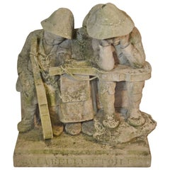 Carved Stone Statue of Children with Musical Instruments