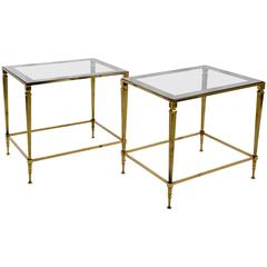 Pair of End Table in Brass and Original Top Mirrors, France, 1960