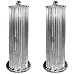Pair of Floor Lamps in Murano Glass