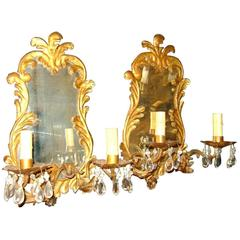 Gilt Metal Venetian Sconces with Mirror Backplate