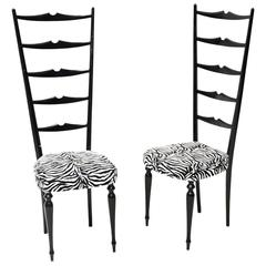 Pair of Chiavari High Back Chairs, Italy, Vintage