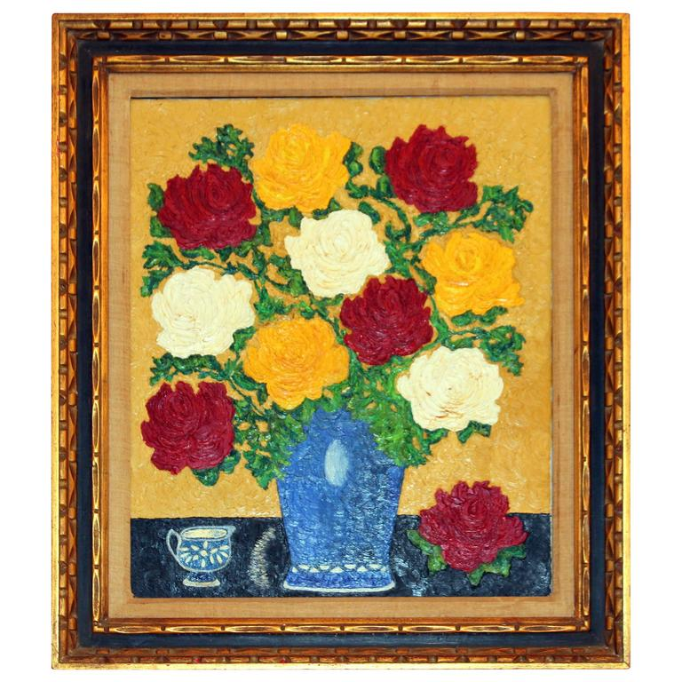 Vintage 1950s Large Framed Oil Painting On Canvas Still Life Flowers