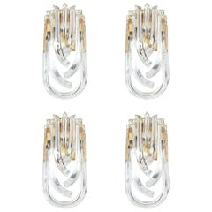 Set of Four Large Venini Curved Crystal Gilt Brass Sconces, Italy 1960