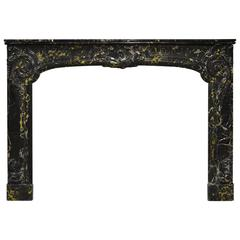 Antique Portoro Marble Dutch Louis XV Fireplace Mantel, 18th Century