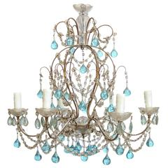 Petite Italian Chandelier with Accent Blue Murano Glass Drops and Crystals