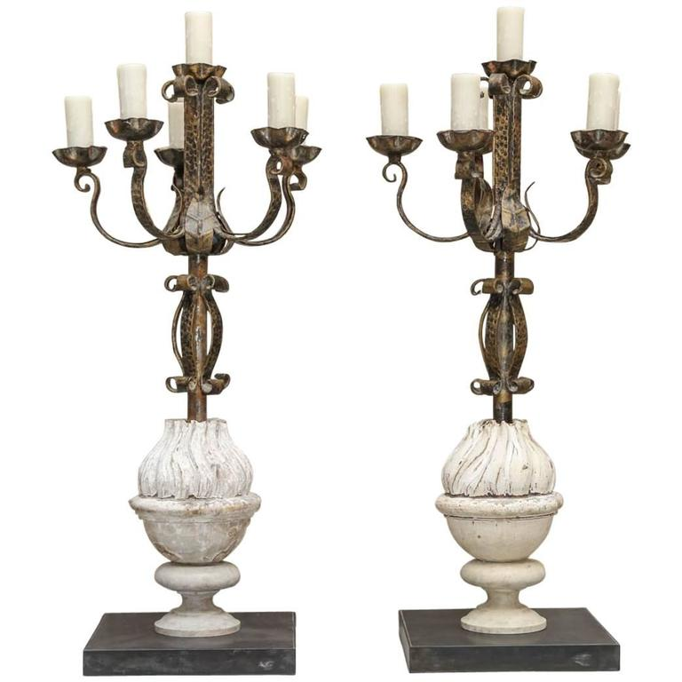 Spanish 19th Century Iron and Wood Candelabras Made into Lamps