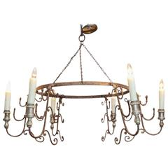 Italian Chandelier Iron and Wood Bobeches, Newly Wired