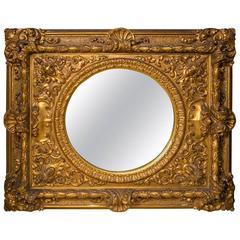 Large Gilt Framed Round Mirror