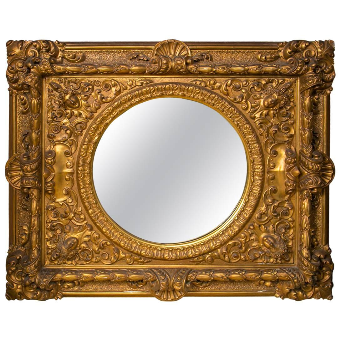 Large gilt framed round mirror for sale at 1stdibs for Large round mirrors for sale