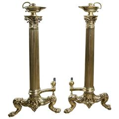 Tall Classical Pair of Polished Brass Andirons