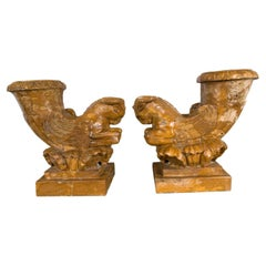 Pair of Solid Marble Rhyton Forms with Winged Rams