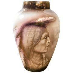 Hand-Painted Large Vase with Native Americans