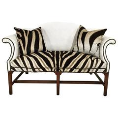 Vintage White Leather and Zebra Hide Loveseat with Two Zebra Hide Pillows