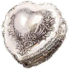 Lovely Victorian Sterling Silver Heart-Form Trinkets Box
