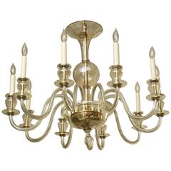 Ten-Arm Italian Murano Glass Clear and Gold Aventurine Chandelier