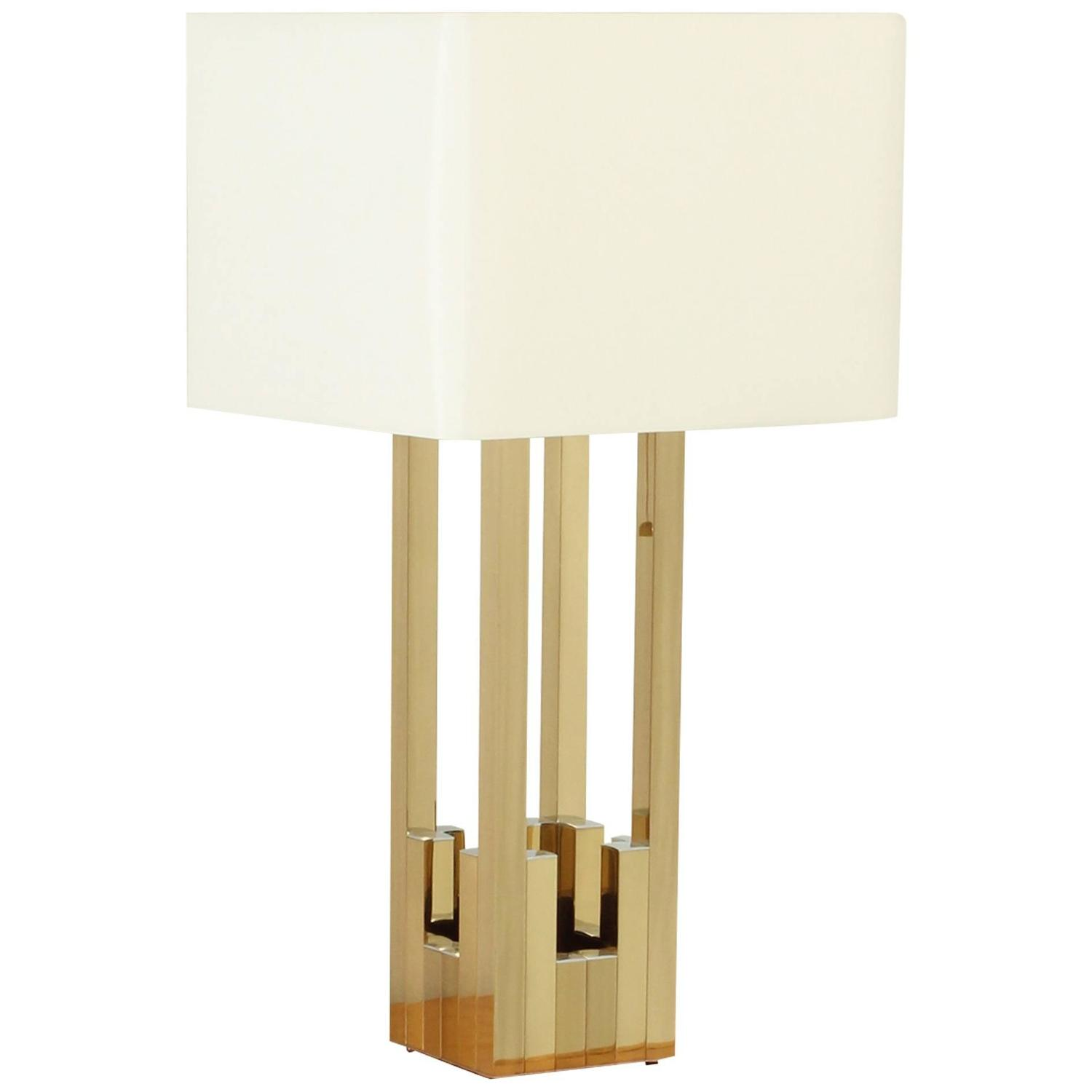 Large Lumica Brass Table Lamp For Sale At 1stdibs