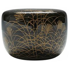 Gold Lacquer Tea Caddy with Moon Over Autumn Grasses