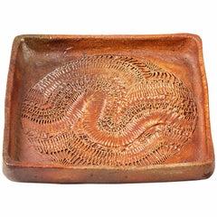 Rare Ceramic Dish by Barbara Delfosse, La Borne, circa 1970