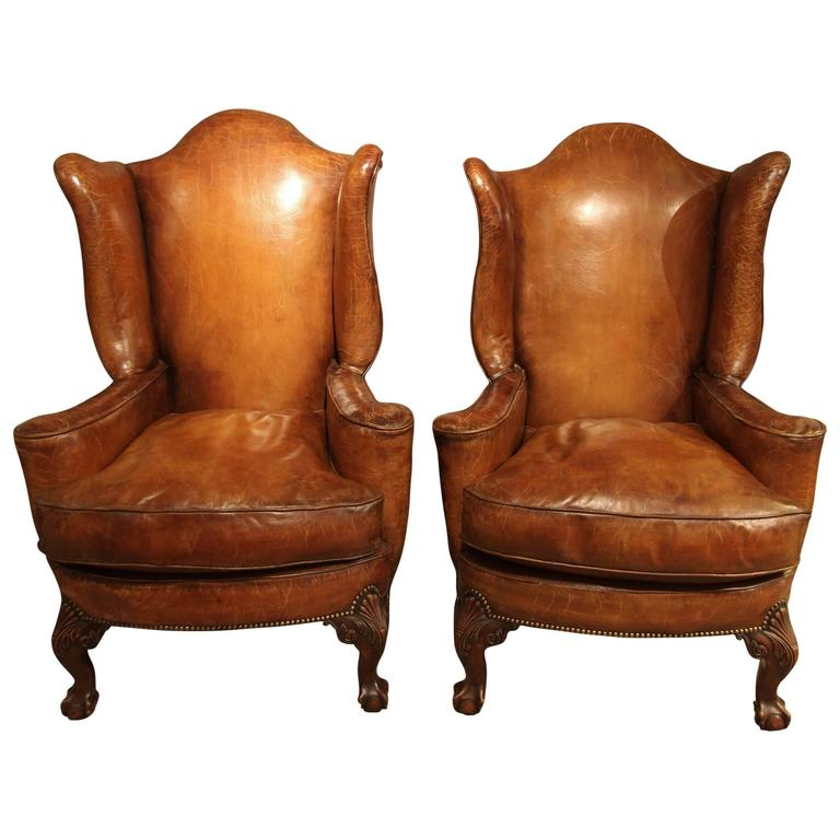 Large queen anne style leather armchair circa 1920 at 1stdibs for Oversized armchairs for sale